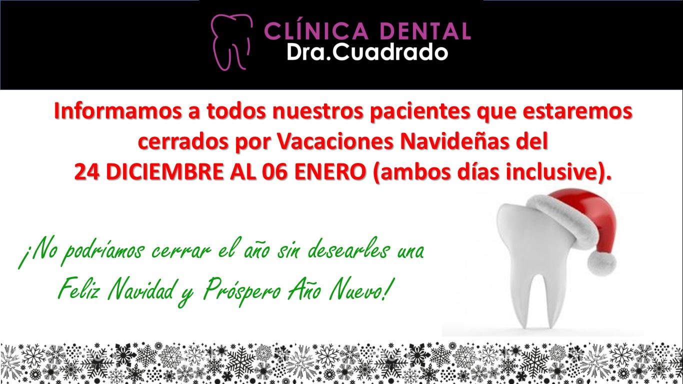 Vacaciones y felicitación navideña de Clínica Dental Cuadrado